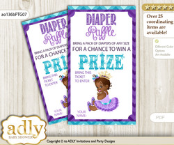 African Princess Diaper Raffle Printable Tickets for Baby Shower, Teal Gold, Royal