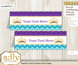 DIY Text Editable Printable African Princess Buffet Tags or Food Tent Labels  for a Baby Shower or Birthday , Teal Gold, Royal