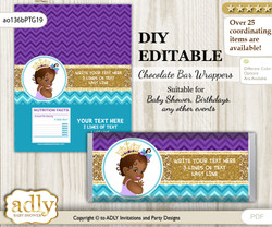DIY Personalizable African Princess Chocolate Bar Candy Wrapper Label for African  baby shower, birthday Teal Gold , editable wrappers
