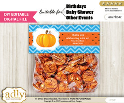 DIY Text Editable Boy Pumpkin Goodie  Treat Bag Toppers, Favor Bag Digital File, print at home