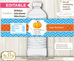 DIY Text Editable Boy Pumpkin Water Bottle Label, Personalizable Wrapper Digital File, print at home for any event