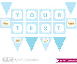 Personalized  Blue Gold Prince  Printable Banner for Baby Shower, Crown,  Royal