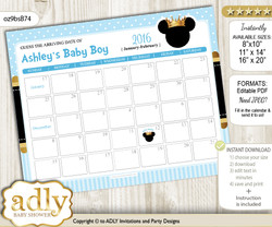 DIY Prince Mickey Baby Due Date Calendar, guess baby arrival date game