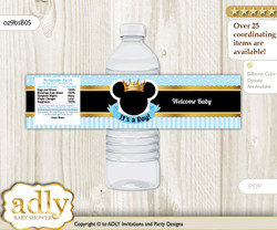 Prince Mickey Water Bottle Wrappers, Labels for a Mickey  Baby Shower, blue gold, Royal