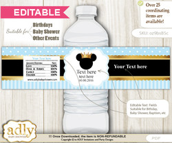 DIY Text Editable Prince Mickey Water Bottle Label, Personalizable Wrapper Digital File, print at home for any event