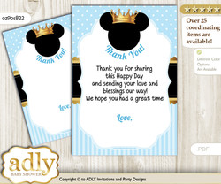 Prince  Mickey Thank you Cards for a Baby Prince Shower or Birthday DIY blue gold, Royal