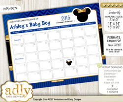DIY Prince Mickey Baby Due Date Calendar, guess baby arrival date game n