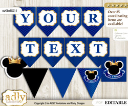 DIY Personalizable Prince Mickey Printable Banner for Baby Shower, Blue Gold, Royal n