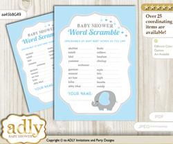 Peanut Elephant Word Scramble Game for Baby Shower nnn