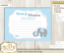 Blue Grey Peanut Elephant Words of Wisdom or an Advice Printable Card for Baby Shower, Boy