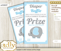 Peanut Elephant Diaper Raffle Printable Tickets for Baby Shower, Blue Grey, Boy