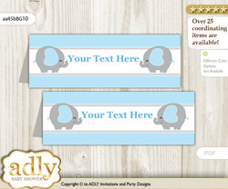 DIY Text Editable Printable Peanut Elephant Buffet Tags or Food Tent Labels  for a Baby Shower or Birthday , Blue Grey, Boy