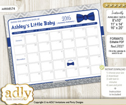 DIY Boy Bow tie Baby Due Date Calendar, guess baby arrival date game m