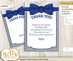 Boy  Bow tie Thank you Cards for a Baby Boy Shower or Birthday DIY Blue Grey, Silver