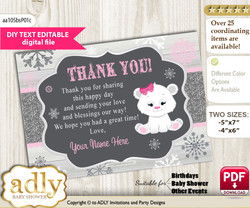 Girl Polar Bear Thank you Printable Card with Name Personalization for Baby Shower or Birthday Party