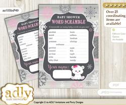 Girl Polar Bear Word Scramble Game for Baby Shower