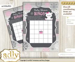 Printable pink grey Polar Bear Bingo Game Printable Card for Baby Girl Shower DIY grey, pink grey, Snowflake