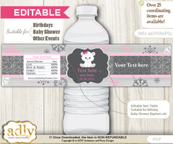 DIY Text Editable Girl Polar Bear Water Bottle Label, Personalizable Wrapper Digital File, print at home for any event