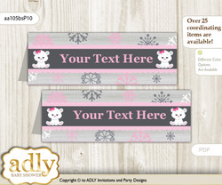 DIY Text Editable Printable Girl Polar Bear Buffet Tags or Food Tent Labels  for a Baby Shower or Birthday , pink grey, Snowflake