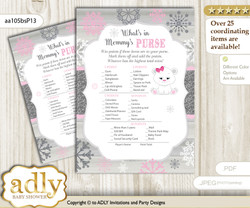 Girl Polar Bear What is in Mommy's Purse, Baby Shower Purse Game Printable Card , pink grey,  Snowflake