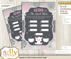 Girl Polar Bear Dirty Diaper Game or Guess Sweet Mess Game for a Baby Shower pink grey, Snowflake