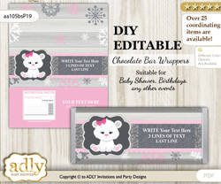 DIY Personalizable Girl Polar Bear Chocolate Bar Candy Wrapper Label for Girl  baby shower, birthday pink grey , editable wrappers