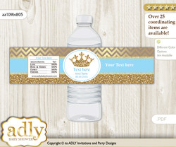 Royal Prince Water Bottle Wrappers, Labels for a Prince  Baby Shower, Blue Gold, Crown v