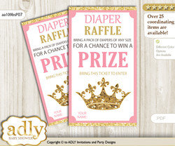 Royal Princess Diaper Raffle Printable Tickets for Baby Shower, pink gold, Glitter m