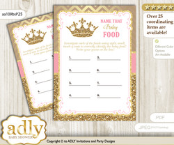 Royal Princess Guess Baby Food Game or Name That Baby Food Game for a Baby Shower, pink gold Glitter