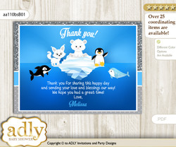 Boy Arctic Thank you Printable Card with Name Personalization for Baby Shower or Birthday Party