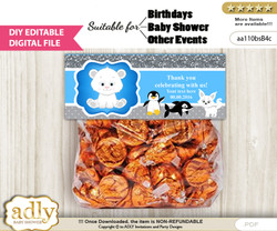 DIY Text Editable Boy Arctic Goodie  Treat Bag Toppers, Favor Bag Digital File, print at home
