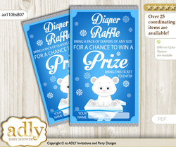 Boy Arctic Diaper Raffle Printable Tickets for Baby Shower, Blue Silver, Winter