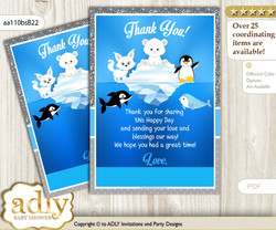 Boy  Arctic Thank you Cards for a Baby Boy Shower or Birthday DIY Blue Silver, Winter