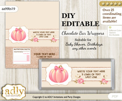 DIY Personalizable Girl Pumpkin Chocolate Bar Candy Wrapper Label for Girl  baby shower, birthday Pink , editable wrappers cv