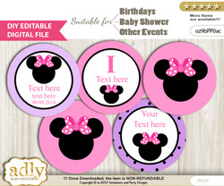 DIY Text Editable Girl Minnie Cupcake Toppers Digital File, print at home, suitable for birthday, baby shower, baptism v
