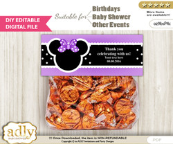 DIY Text Editable Minnie Mouse Goodie  Treat Bag Toppers, Favor Bag Digital File, print at home  b