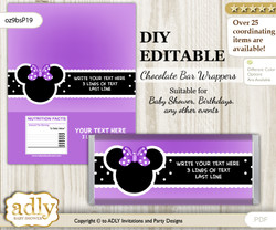 DIY Personalizable Minnie Mouse Chocolate Bar Candy Wrapper Label for Minnie  baby shower, birthday Purple , editable wrappers b