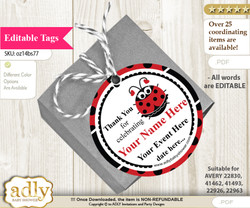 Girl Ladybug Thank You Tags, Circle Favor Tags Personalizable for Shower, Birthday