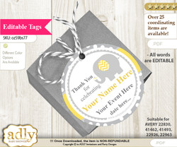 Neutral Elephant Thank You Tags, Circle Favor Tags Personalizable for Shower, Birthday