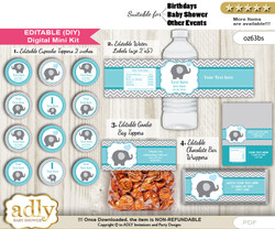 DIY Text Editable Boy Elephant Baby Shower, Birthday digital package, kit-cupcake, goodie bag toppers, water labels, chocolate bar wrappers v