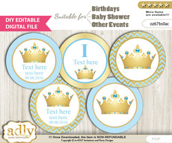 DIY Text Editable Blue Prince Cupcake Toppers Digital File, print at home, suitable for birthday, baby shower, baptism