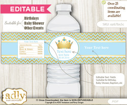 DIY Text Editable Blue Prince Water Bottle Label, Personalizable Wrapper Digital File, print at home for any event