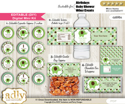 DIY Text Editable Boy Peanut Baby Shower, Birthday digital package, kit-cupcake, goodie bag toppers, water labels, chocolate bar wrappers