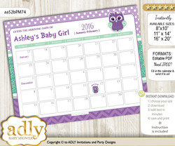 DIY Girl Owl  Baby Due Date Calendar, guess baby arrival date game