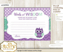 Purple Green Girl Owl  Words of Wisdom or an Advice Printable Card for Baby Shower, Mint