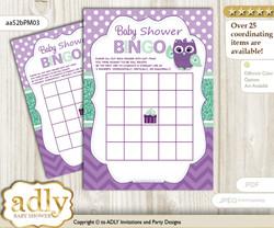 Printable Purple Green Owl  Bingo Game Printable Card for Baby Girl Shower DIY grey, Purple Green, Mint