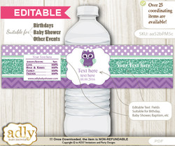 DIY Text Editable Girl Owl  Water Bottle Label, Personalizable Wrapper Digital File, print at home for any event