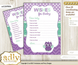 Girl Owl  Wishes for a Baby, Well Wishes for a Little Owl  Printable Card, Mint, Purple Green