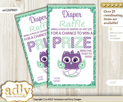 Girl Owl  Diaper Raffle Printable Tickets for Baby Shower, Purple Green, Mint