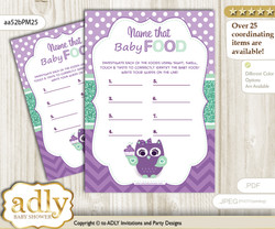 Girl Owl  Guess Baby Food Game or Name That Baby Food Game for a Baby Shower, Purple Green Mint